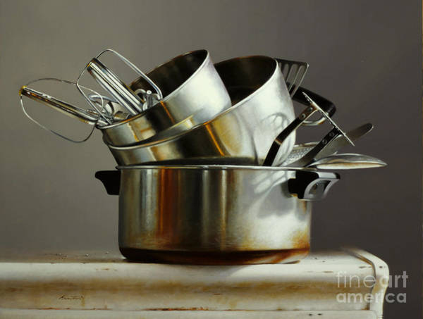 Stainless Steel Wall Art - Painting - Pots And Pans by Lawrence Preston