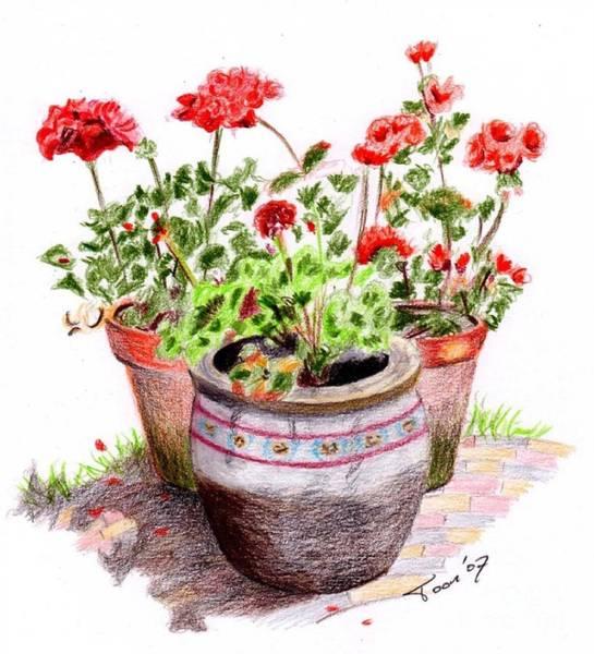 Drawing - Pots Of Spring by Toon De Zwart