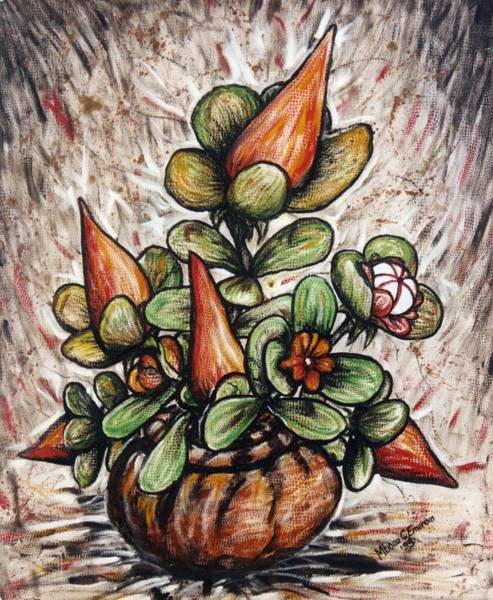 Recycling Painting - Potted Flower #2 by Mbonu Emerem