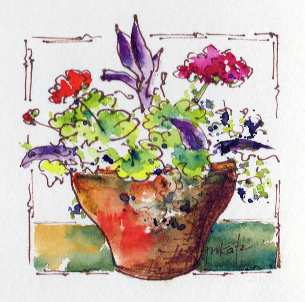 Painting - Potted Geraniums by Pat Katz