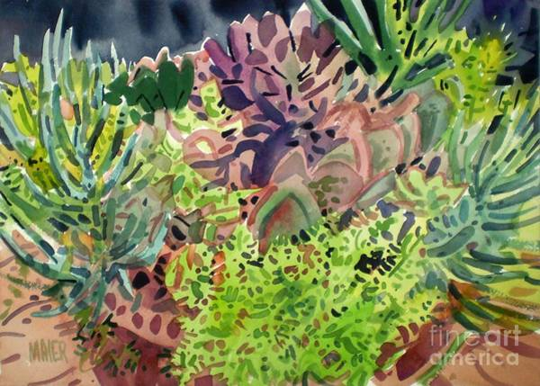 Potted Plant Painting - Potted Succulents by Donald Maier