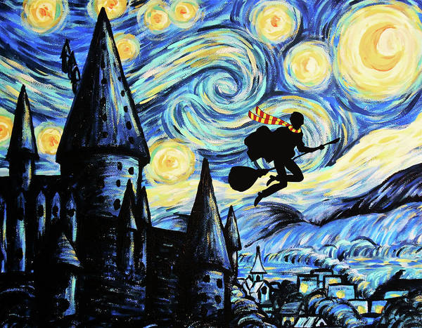 Ron Weasley Wall Art - Painting - Potter Starry Night by Koko Priyanto
