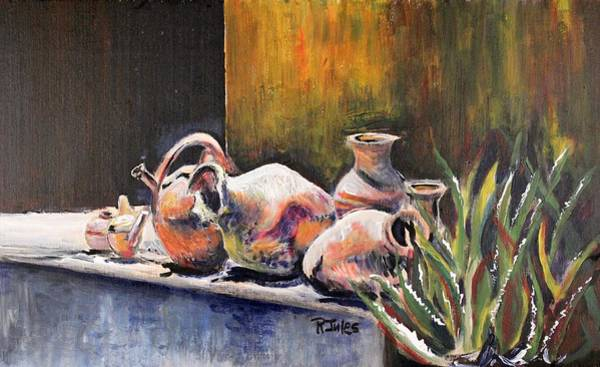 Painting - Pottery And Aloe by Richard Jules