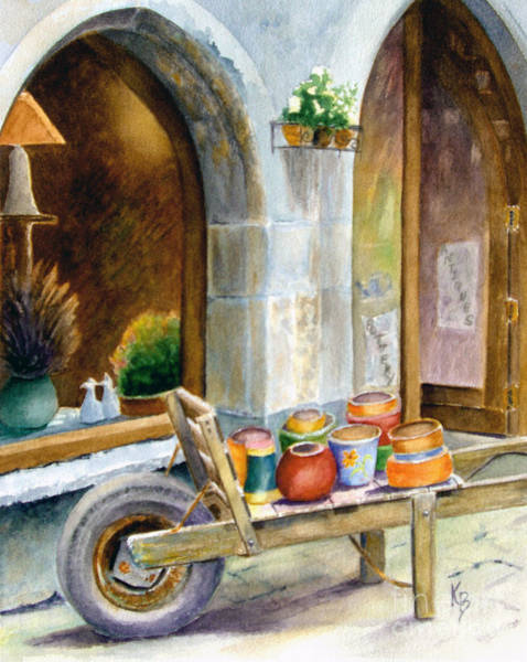 Painting - Pottery Cart by Karen Fleschler