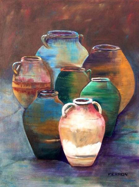 Art Print featuring the painting Pottery Jars by Patti Ferron
