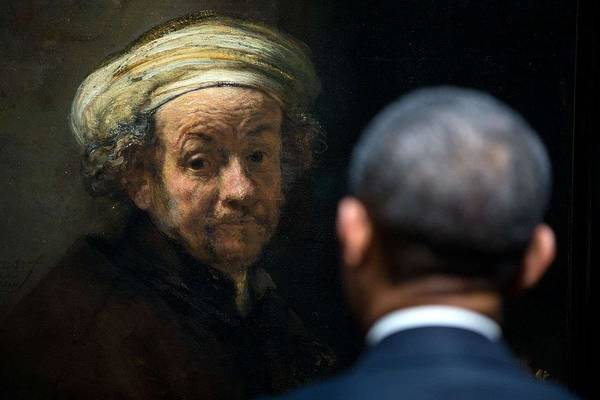 Wall Art - Painting - Potus Meets Rembrandt. The President Looks At Rembrandt's 'self-portrait As The Apostle Paul by Celestial Images