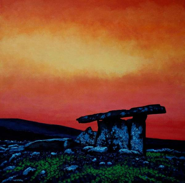 Wall Art - Painting - Poulnabrone Dolmen Ireland by John  Nolan