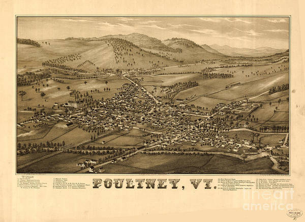 Wall Art - Painting - Poultney Vermont Map Vintage by Mindy Sommers