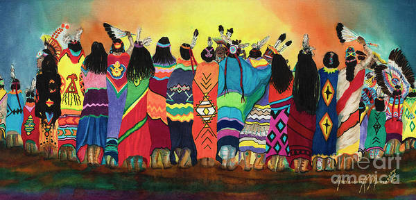 Wall Art - Painting - Pow Wow Blanket Dancers by Anderson R Moore