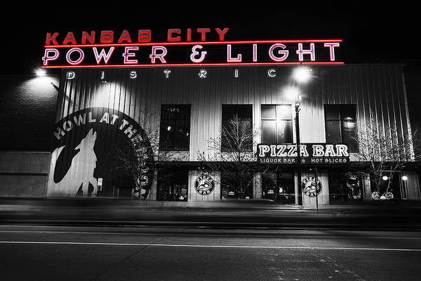 Mo Photograph - Power And Light Pizza Bw by Thomas Zimmerman