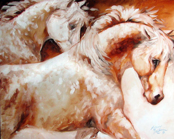 Painting - Power By Two Equine Original by Marcia Baldwin