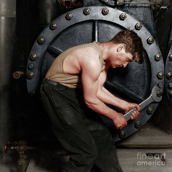 Photograph - Power House Mechanic Working On Steam Pump By Lewis Hine Colorized 20170701 Square by Wingsdomain Art and Photography
