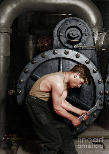 Photograph - Power House Mechanic Working On Steam Pump By Lewis Hine Colorized 20170701 by Wingsdomain Art and Photography