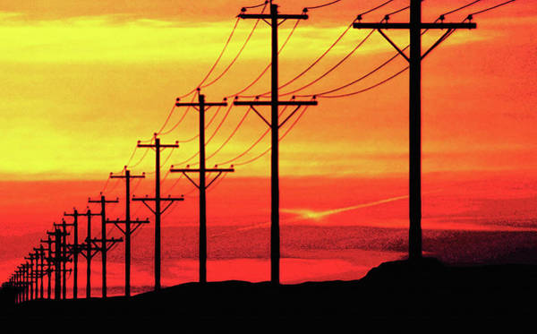 Wall Art - Photograph - Power Poles And Lines Into Distance 2 by Steve Ohlsen