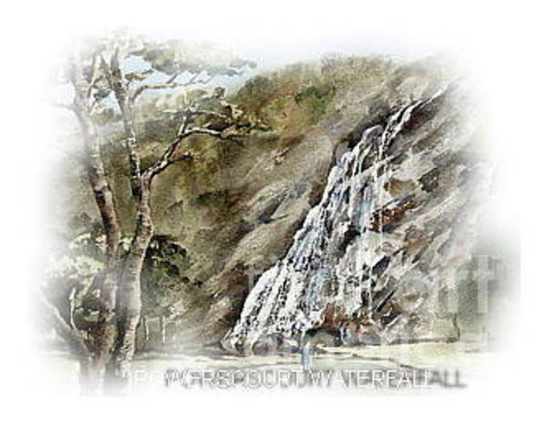 Painting - Powercourt Waterfall by Val Byrne