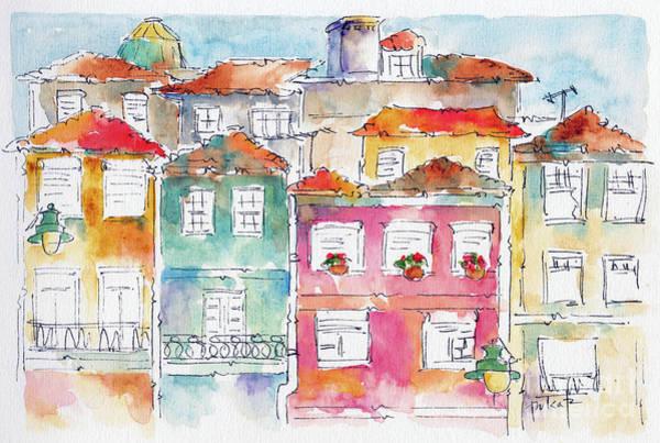 Painting - Praca Da Ribeira Porto by Pat Katz