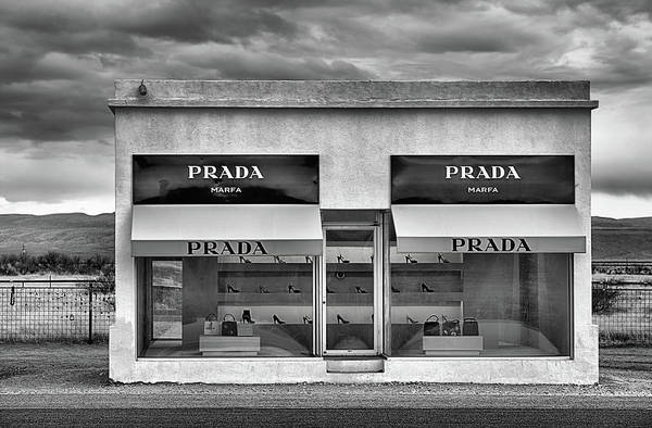 Middle Of Nowhere Photograph - Prada Marfa Black And White by JC Findley