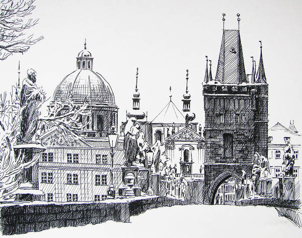 Pen And Ink Drawing Drawing - Prague by Angelina Sofronova