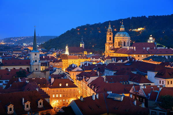 Photograph - Prague At Night by Songquan Deng