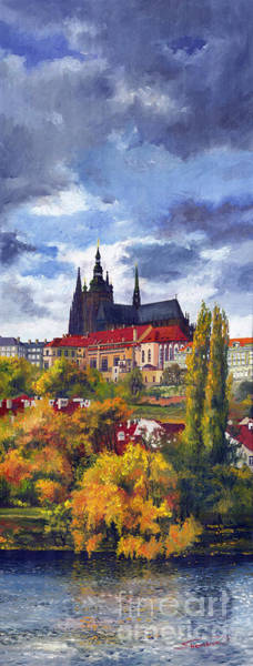 Castles Painting - Prague Castle With The Vltava River by Yuriy Shevchuk