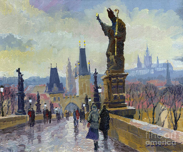 Czech Republic Painting - Prague Charles Bridge 04 by Yuriy Shevchuk