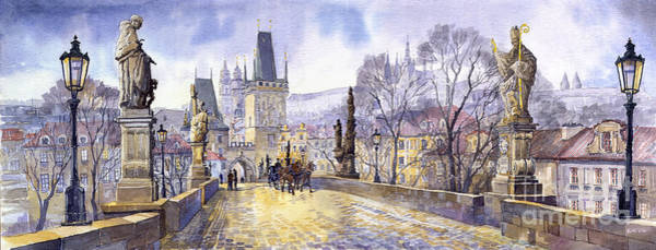 Wall Art - Painting - Prague Charles Bridge Mala Strana  by Yuriy Shevchuk