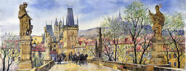 Watercolour Painting - Prague Charles Bridge Spring by Yuriy Shevchuk