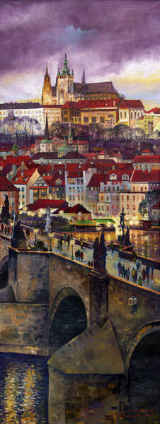 Oil Painting - Prague Charles Bridge With The Prague Castle by Yuriy Shevchuk
