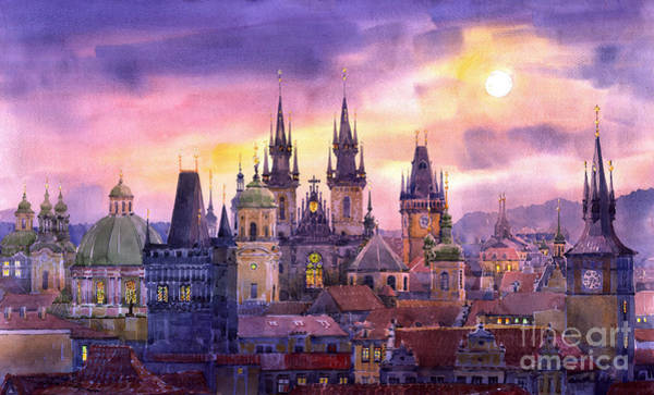 Czech Republic Painting - Prague City Of Hundres Spiers Variant by Yuriy Shevchuk