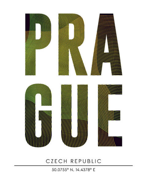 Wall Art - Mixed Media - Prague, Czech Republic - City Name Typography - Minimalist City Posters by Studio Grafiikka