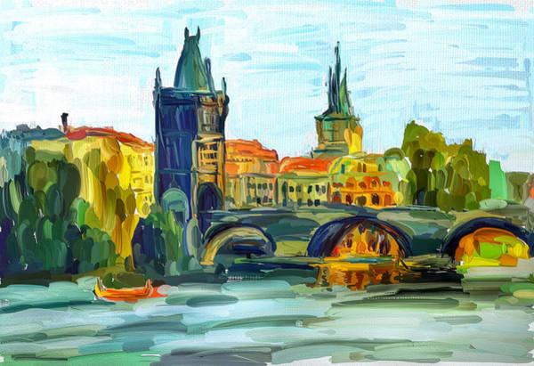Czech Digital Art - Prague City by Yury Malkov