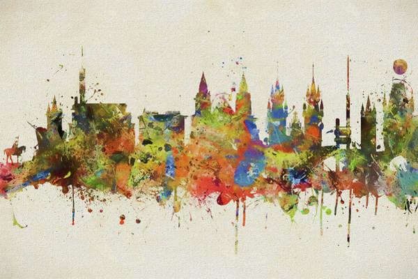 Wall Art - Painting - Prague Colorful Skyline Splash by Dan Sproul