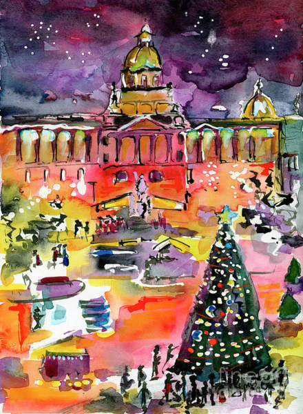 Painting - Prague Impressions Christmas Market by Ginette Callaway