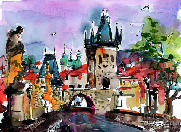 Painting - Prague Impressions Cobblestone Street by Ginette Callaway