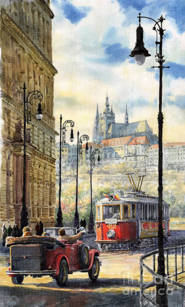 Tram Wall Art - Painting - Prague Kaprova Street by Yuriy Shevchuk