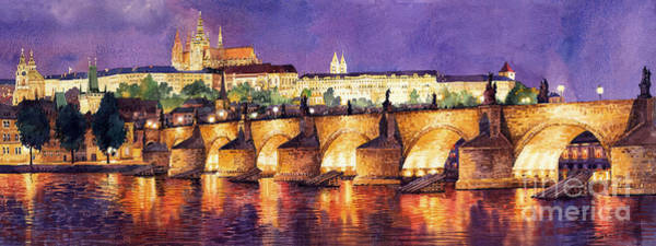 Watercolour Painting - Prague Night Panorama Charles Bridge  by Yuriy Shevchuk