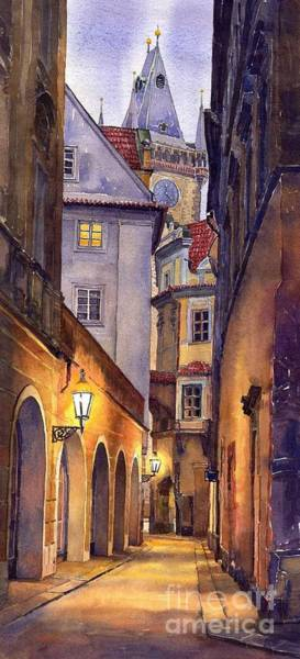 Watercolour Landscape Painting - Prague Old Street  by Yuriy Shevchuk