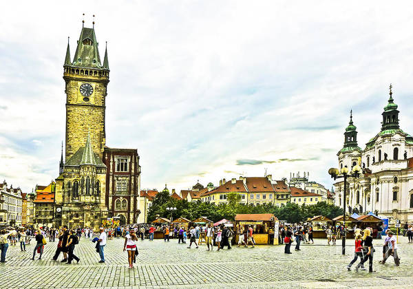 Town Square Mixed Media - Prague Old Town Square by Edita De Lima