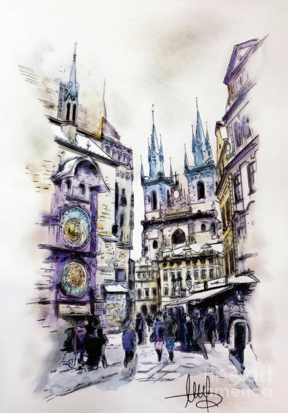 Town Square Mixed Media - Prague - Old Town Square by Melanie D