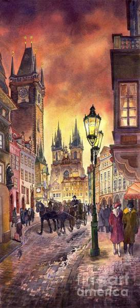 Watercolour Landscape Painting - Prague Old Town Squere by Yuriy Shevchuk