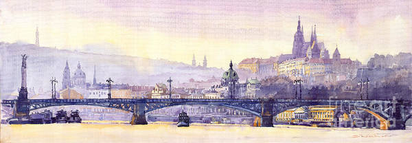 Wall Art - Painting - Prague Panorama Chehuv Bridge by Yuriy Shevchuk