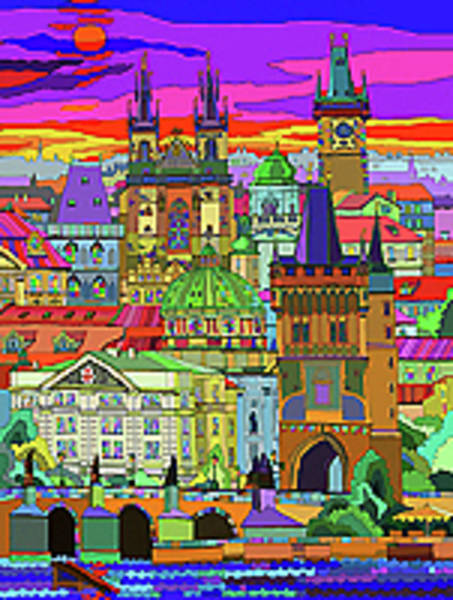 Wall Art - Mixed Media - Prague Panorama Old Town by Yuriy Shevchuk