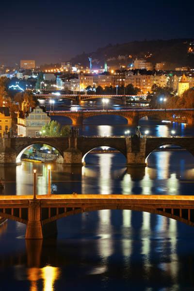 Photograph - Prague Skyline And Bridge  by Songquan Deng