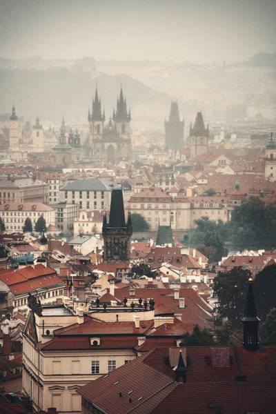 Photograph - Prague Skyline Rooftop View by Songquan Deng