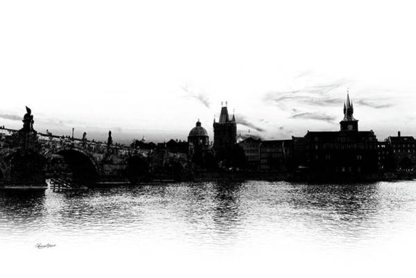 Photograph - Prague Skyline Silhouette Black And White by Sharon Popek