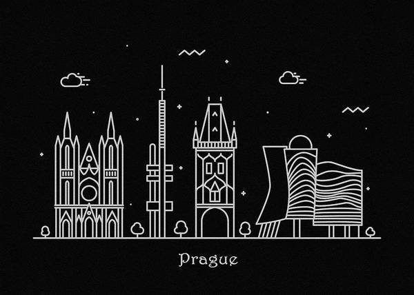 Praha Wall Art - Drawing - Prague Skyline Travel Poster by Inspirowl Design
