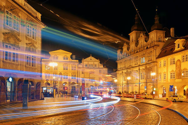 Photograph - Prague Street Night View by Songquan Deng