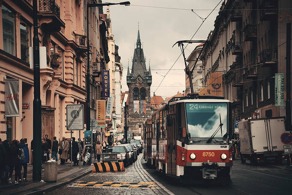 Photograph - Prague Street View With Tram by Songquan Deng