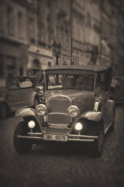 Photograph - Prague Street View With Vintage Car by Songquan Deng