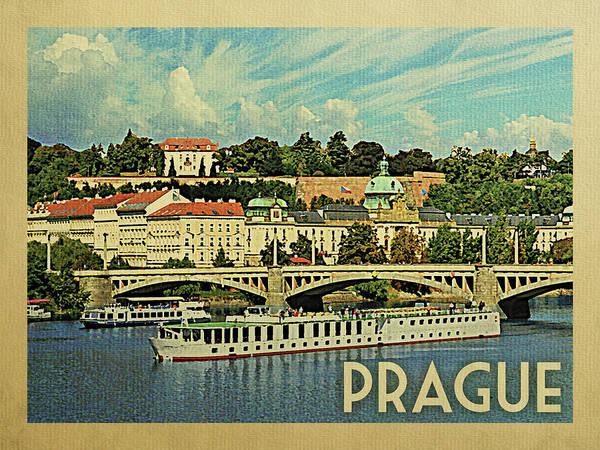 Czech Digital Art - Prague Travel Poster by Flo Karp